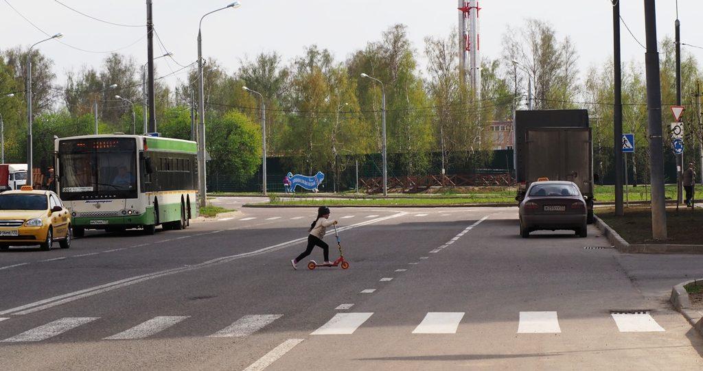 ребёнок пересекает двойную сплошную на Нововатутинском проспекте, 8